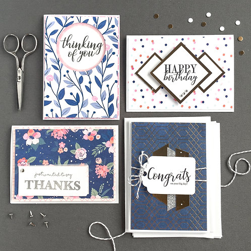 blue blossoms card making kit