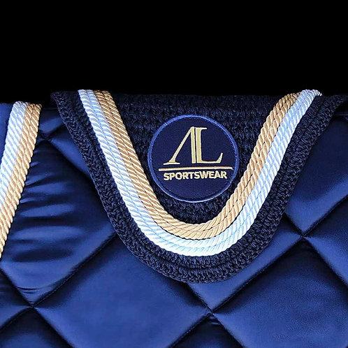 Alexandra Ledermann - Bonnet Bleu nuit, 4 cordes Or & Blanc