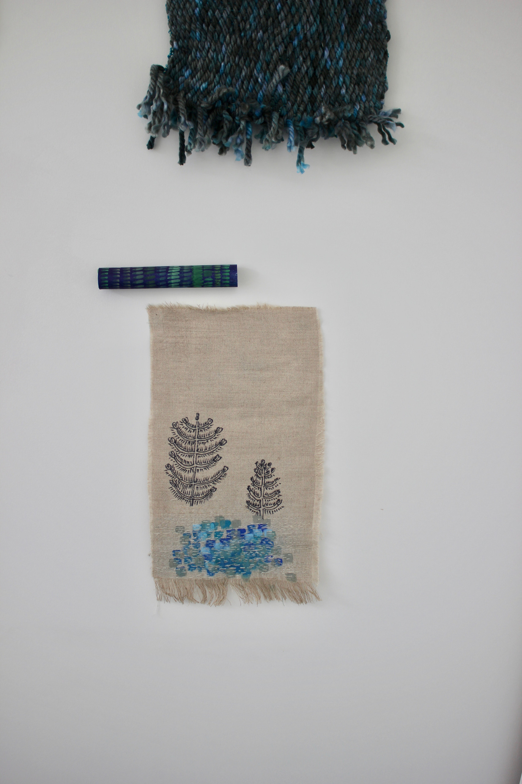 weave, paper, drawing on linen