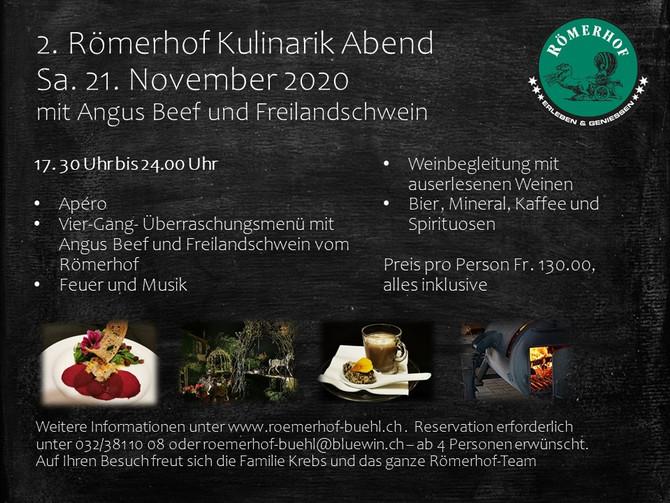 2. Römerhof Kulinarik Abend Samstag, 21. November 2020