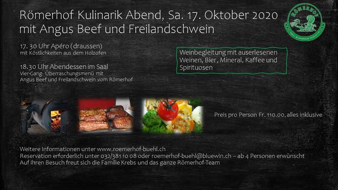 Römerhof Kulinarik Abend  Samstag, 17. Oktober 2020