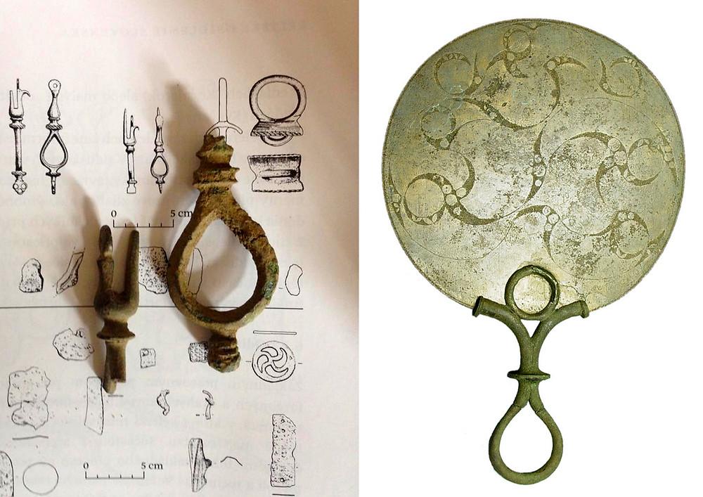 Cenný nález, držátko bronzového zrcátka a rekonstrukce z Britského muzea. Foto V. Mikešová