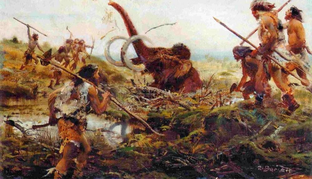 Lov mamuta do vykopané pasti neodpovídá historické realitě. Kresba Z. Burian