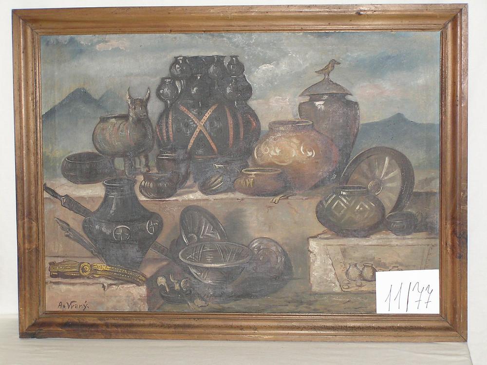 Obr. 3 Nádoby různých typů ze žárových hrobů a různé bronzové předměty. Malba A. Vraný
