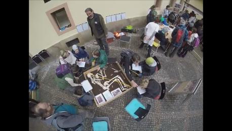 Simulovaný archeologický výzkum je skvělou zábavou pro děti. Snímek z videa P. Huislové