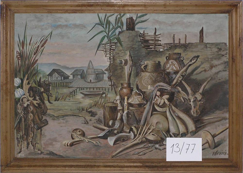 Obr. 7 Nádoby a nástroje z doby neolitické. Malba A. Vraný