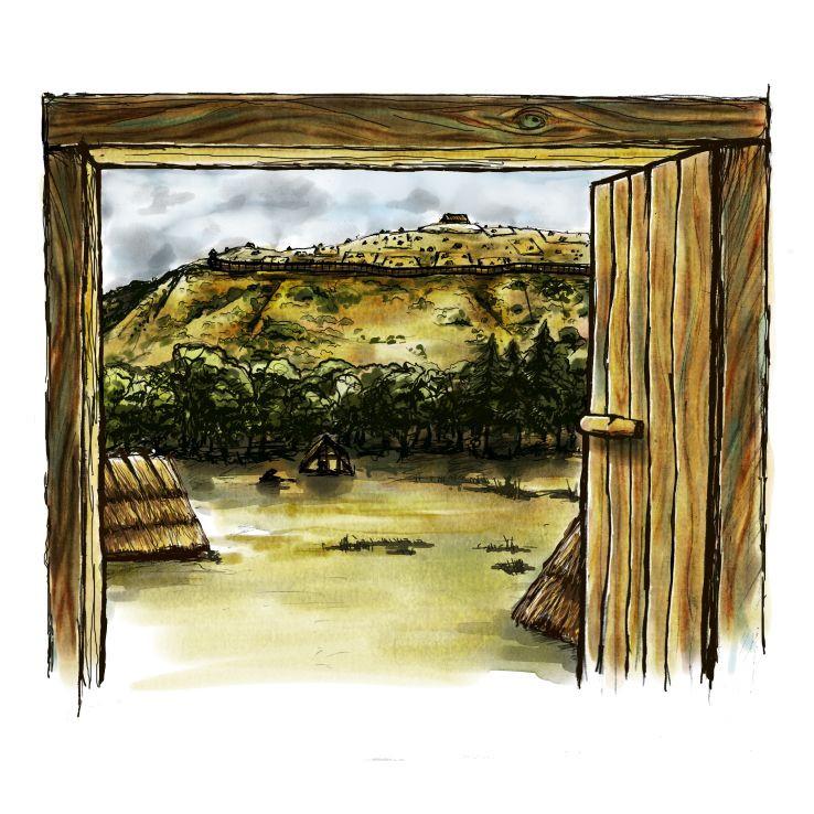 Pohled na hradiště Závist z panského domu v Dolních Břežanech. Kresba A. Šimečková, digitální kolorování M. Puhač