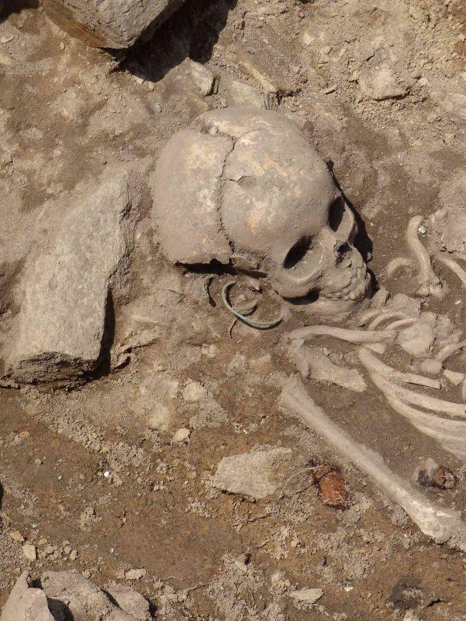 Obr. 2. Detail pohřbu mladé dívky se záušnicemi (foto Z. Beneš, 3.7.2014).