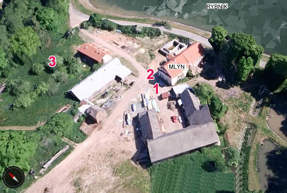 Areál mlýna Propast ve 3D zobrazení s umístěním jednotlivých archeologických objektů.
