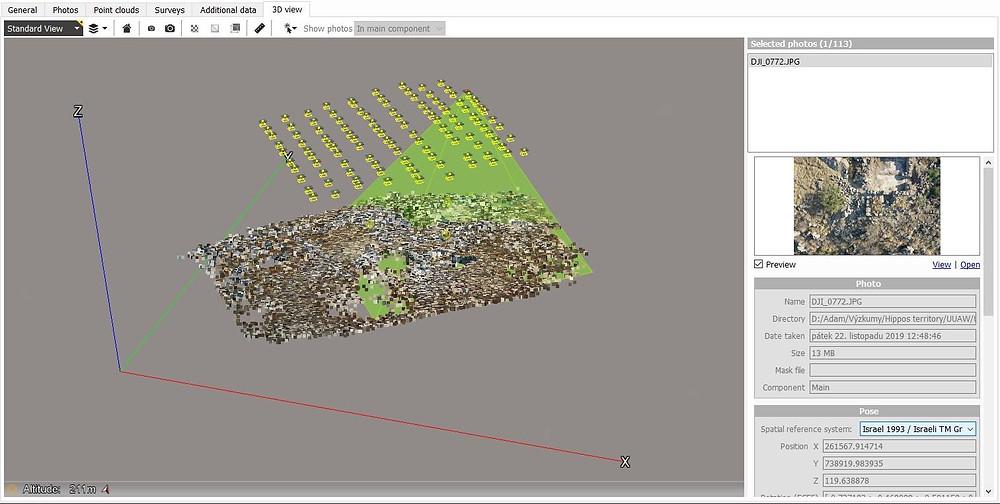 Ukázka orientace snímků a výsledků triangulace v programu Context Capture