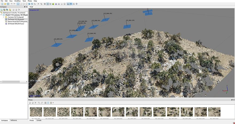 Dopočítávání hustého mračna bodů po triangulaci, v programu PhotoScan