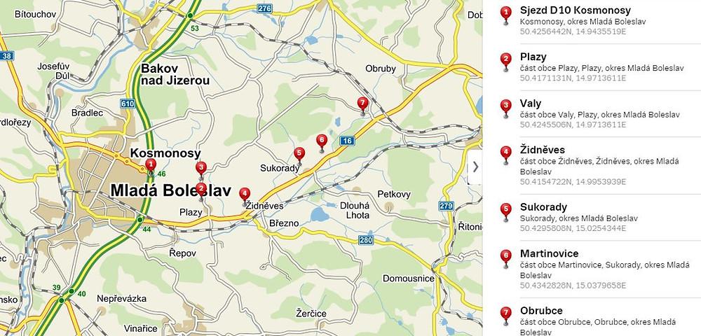Mapa s vyznačenými lokalitami na trase. Zdroj seznam.cz
