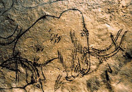Mamut se v jeskynním umění vyskytoval zřídka. Rouffignac, Francie, asi před 14000 lety