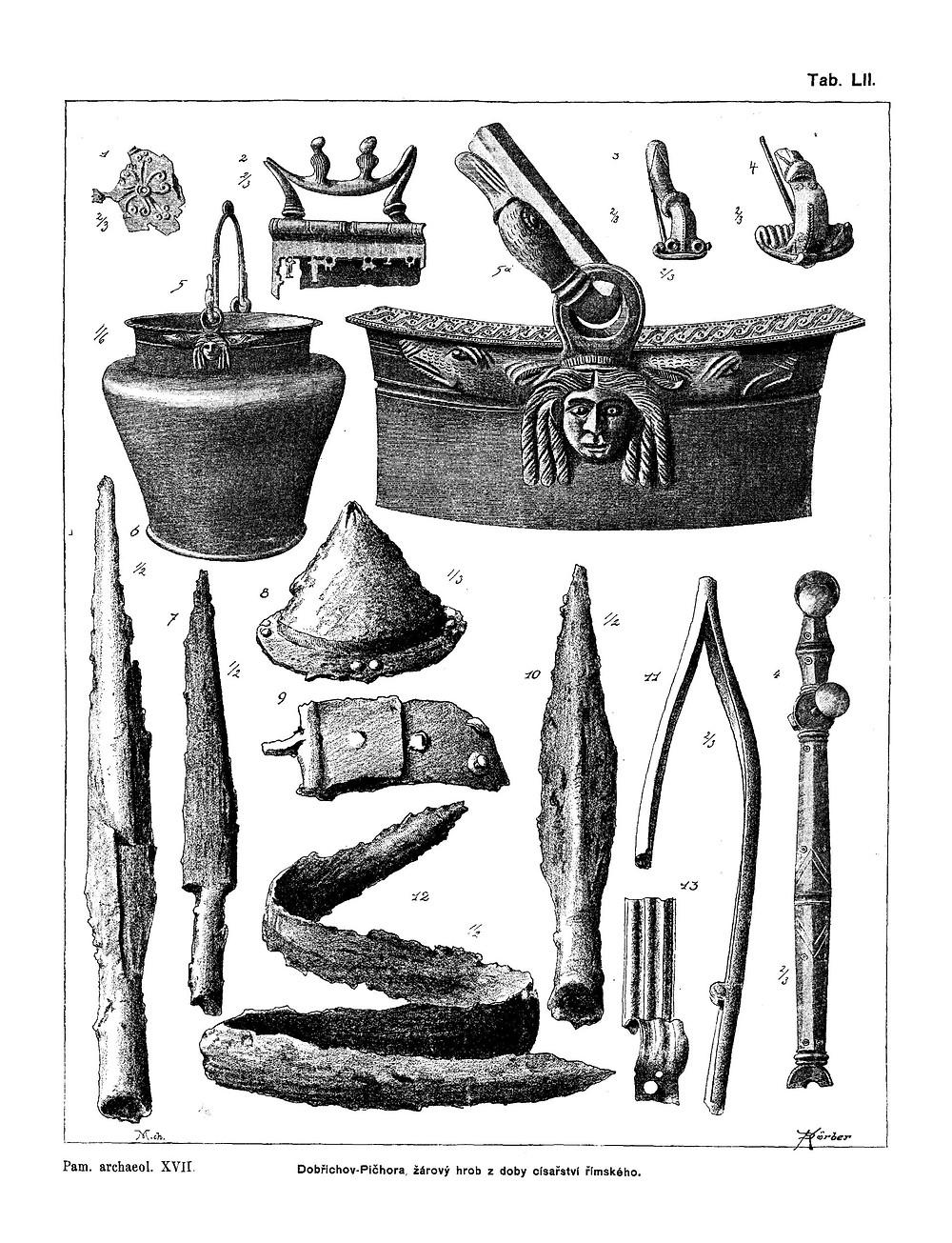 Nejstarší luxusní nálezy z Pičhory. Zdroj Památky archeologické XVII