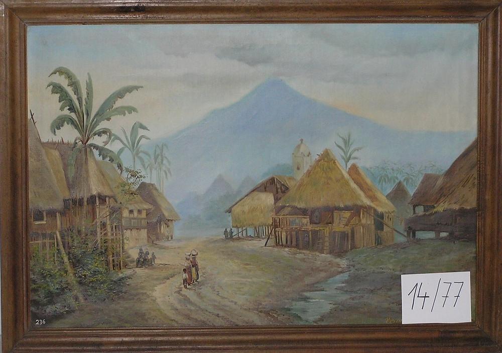 Obr. 5 Vesnice domorodců na ostrově Luzonu. Malba A. Vraný
