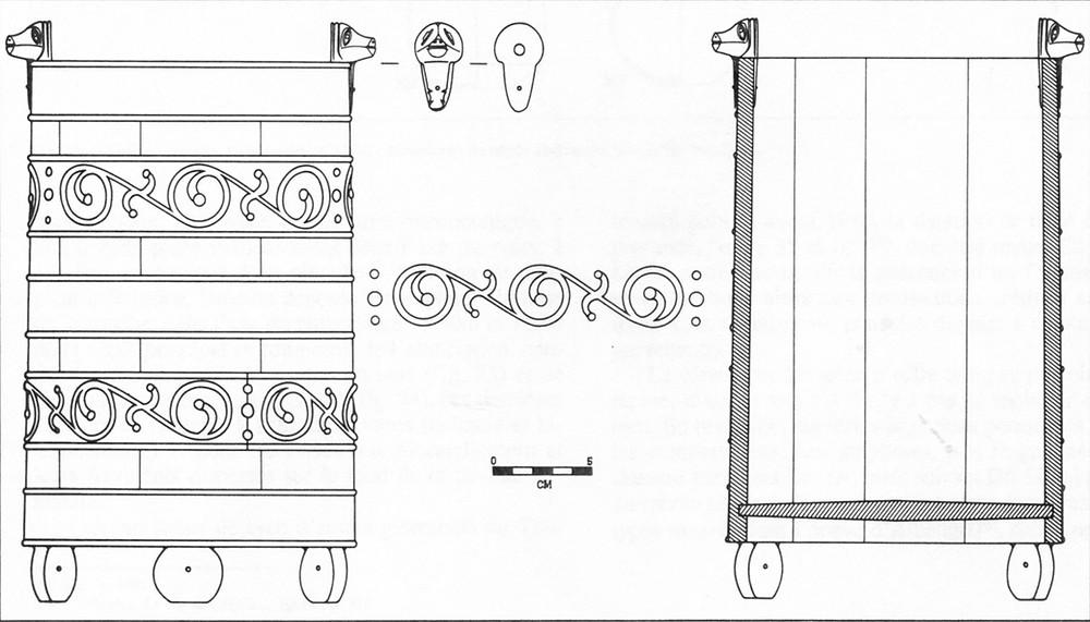 Rekonstrukce okovaného vědra z obětní šachty z Vieille-Toulouse, jižní Francie (podle Vidal 1976)