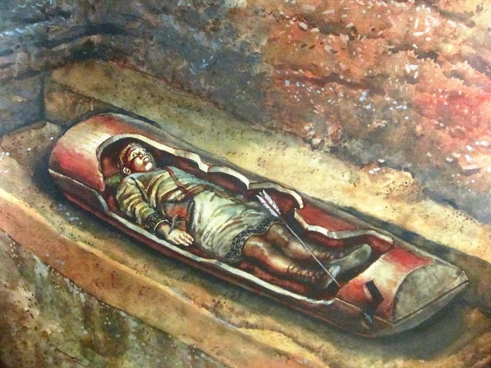 Kresebná rekonstrukce jednoho z pohřbů. Autor Libor Balák