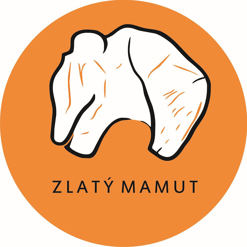 Logo soutěže Cena Karla Absolona za popularizaci archeologie Zlatý mamut.