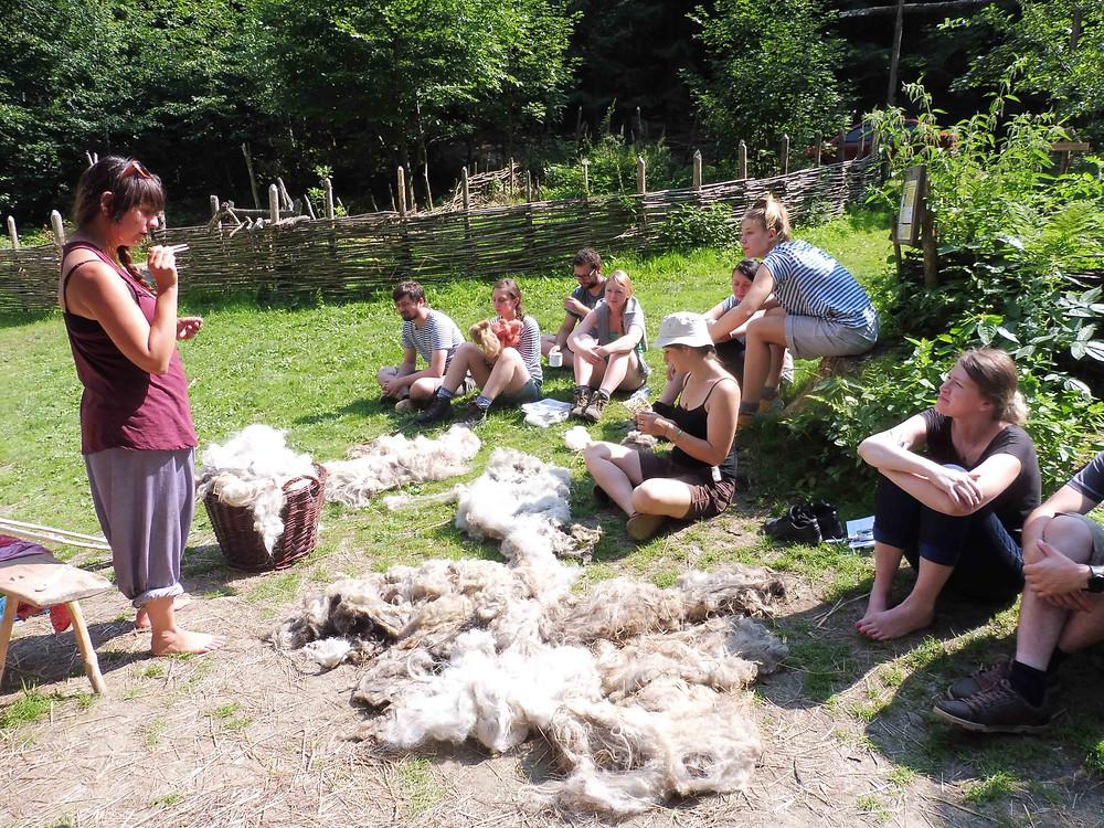 Kristýna Urbanová předvádí, jak z ovcí získat vlnu vhodnou k výrobě textilu. Foto V. Mikešová