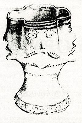 Gotický keramický pohár s obličeji. Podle Novobilského 2003