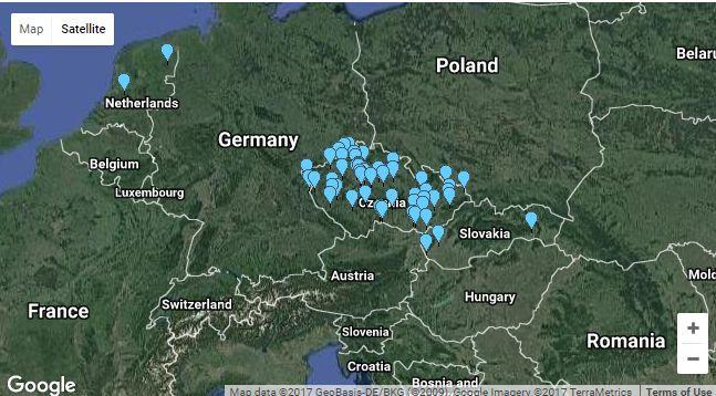 Mapa dění v rámci Mezinárodního dne archeologie v Evropě. Zdroj https://www.archaeological.org