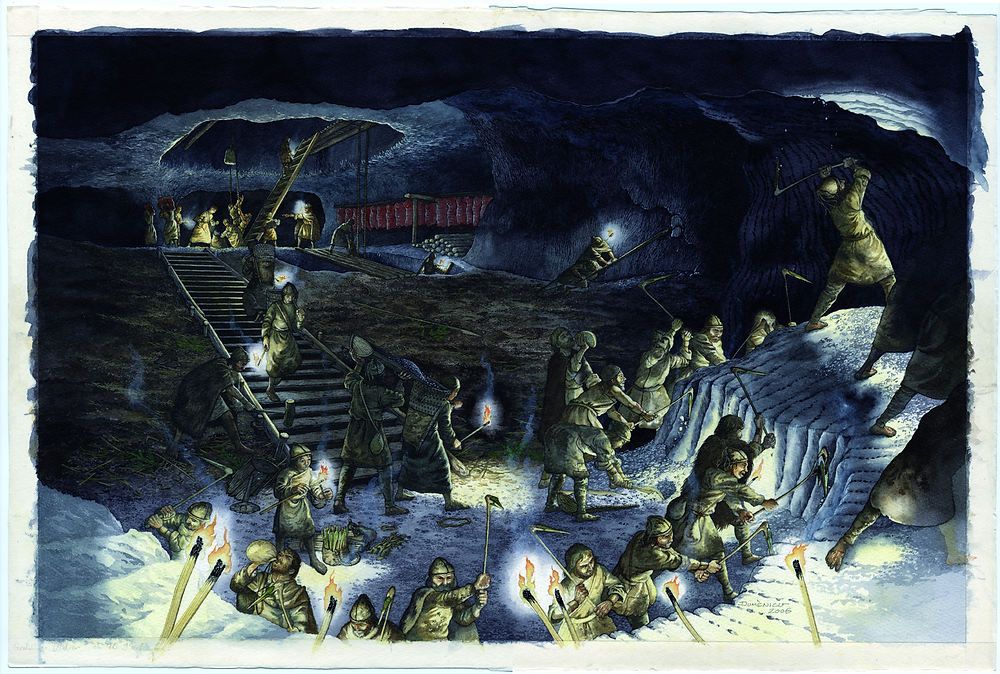 Rekonstrukce práce v dolech v době bronzové. Zdroj Wikipedia, orig. Dominic_Groebner_Hans_Reschreiter_NHM_Wien_Abb_Salz-Reich_2008_Seite_48f