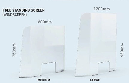 Desk Top Safety Screen - 2 sizes