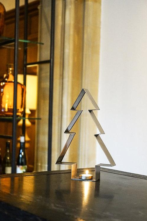 Metal Christmas Tree Tealight Holder Set Of 2, 3 Colours