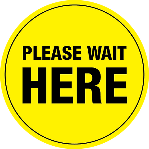 "In-Store Floor Stickers ""Please Wait Here"" - Pack of 10"