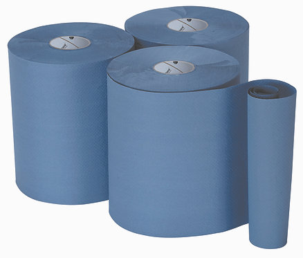 HAND TOWEL ROLLS - SINGLE PLY BLUE EMBOSSED. CASE of 6