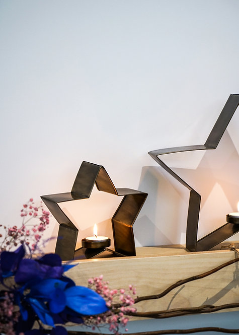 Metal Christmas Star Tealight Holder, 3 Colours