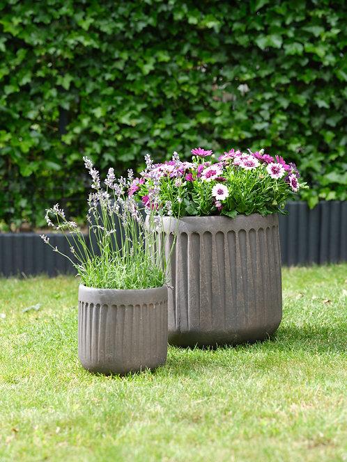 Outdoor Set of 2 Fibre-Clay Planters