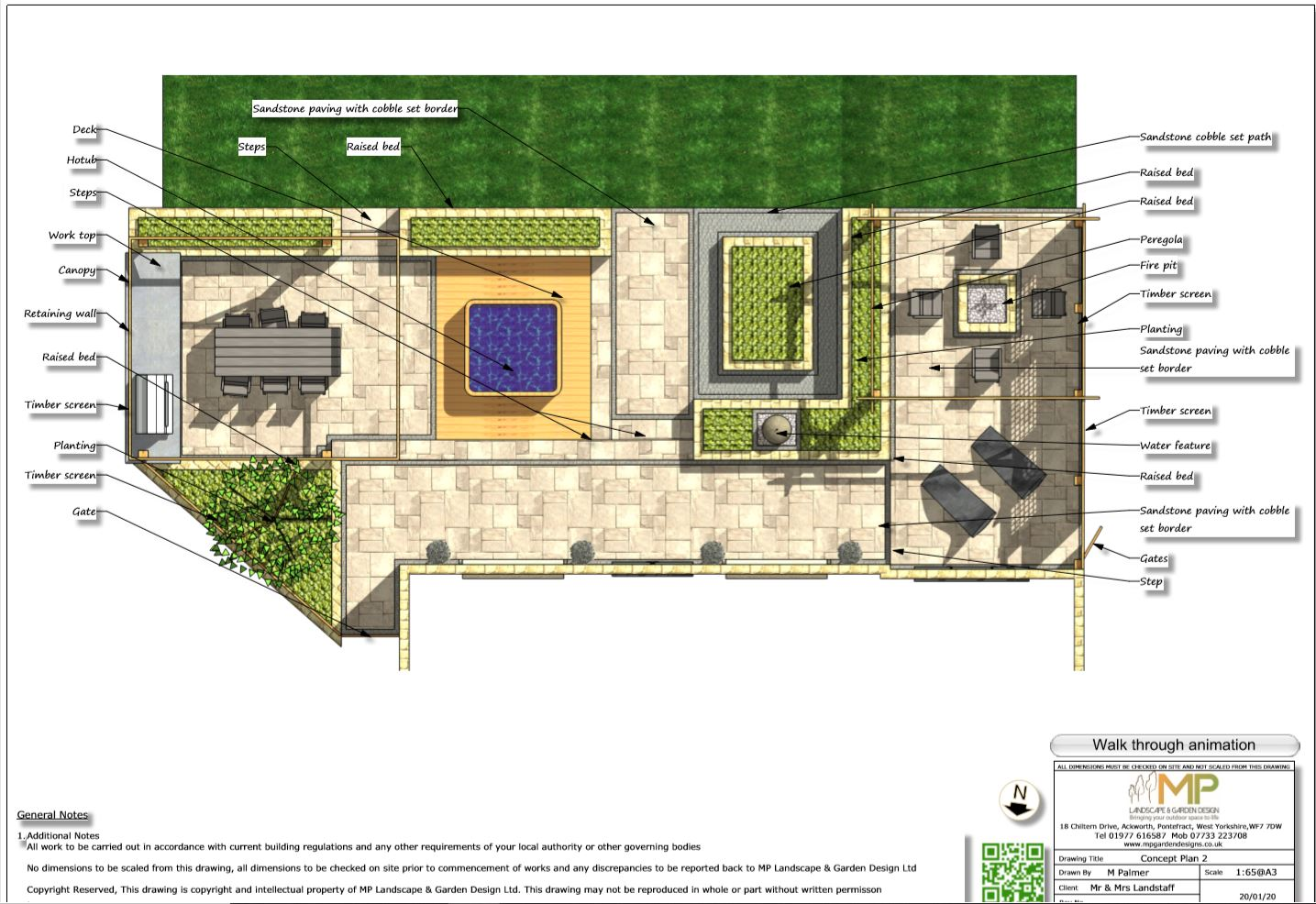 4. Colour concept-2 plan for a rear patio area in Wakefield