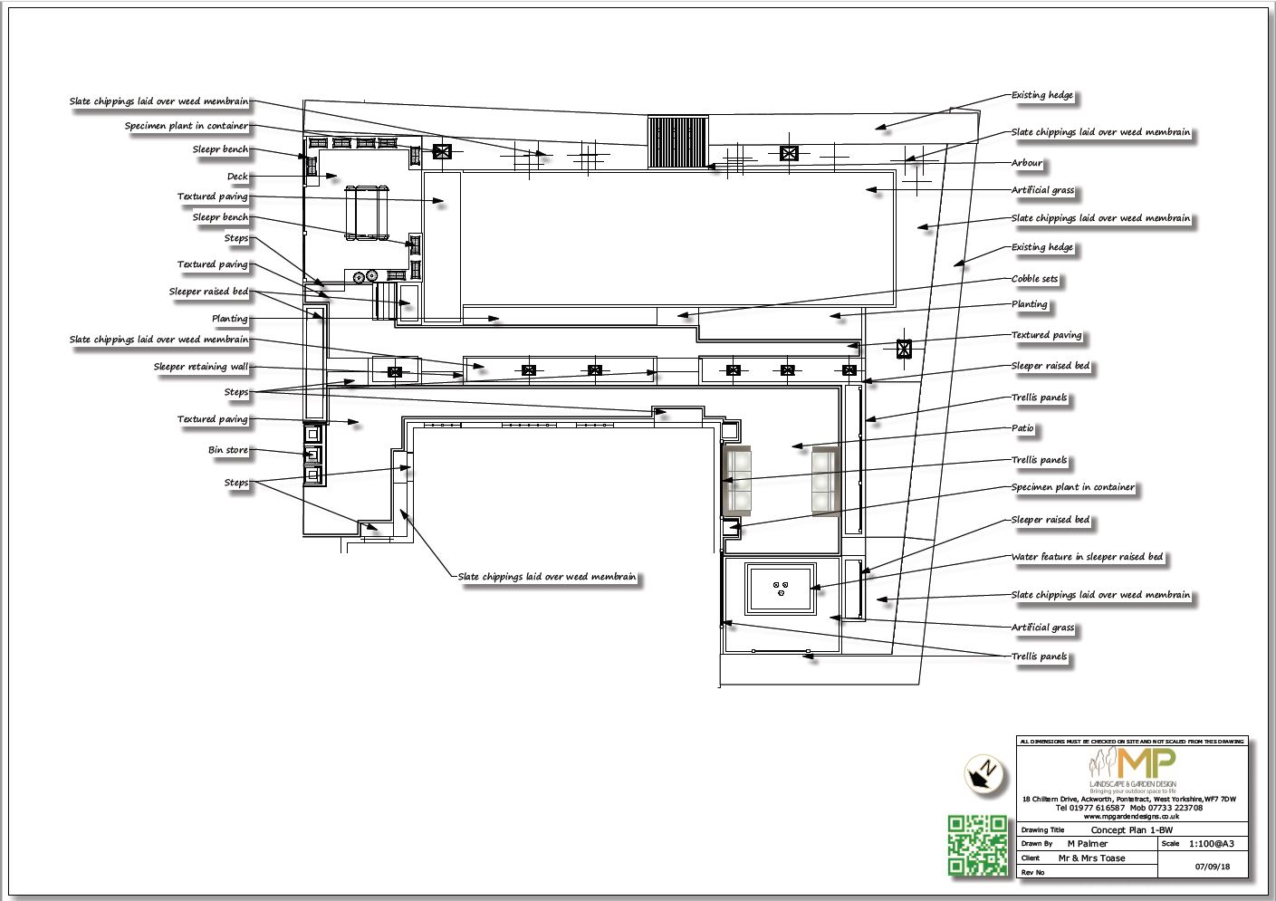 Concept plan-1 black and white for a property in Wakefield.