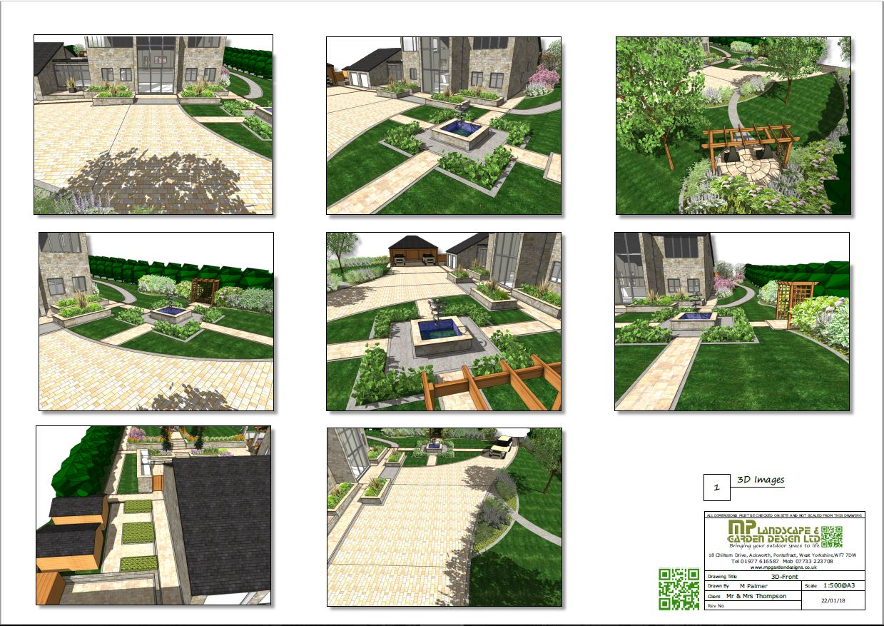 Landscape design 3D plans for a property in Wentbridge, West Yorkshire