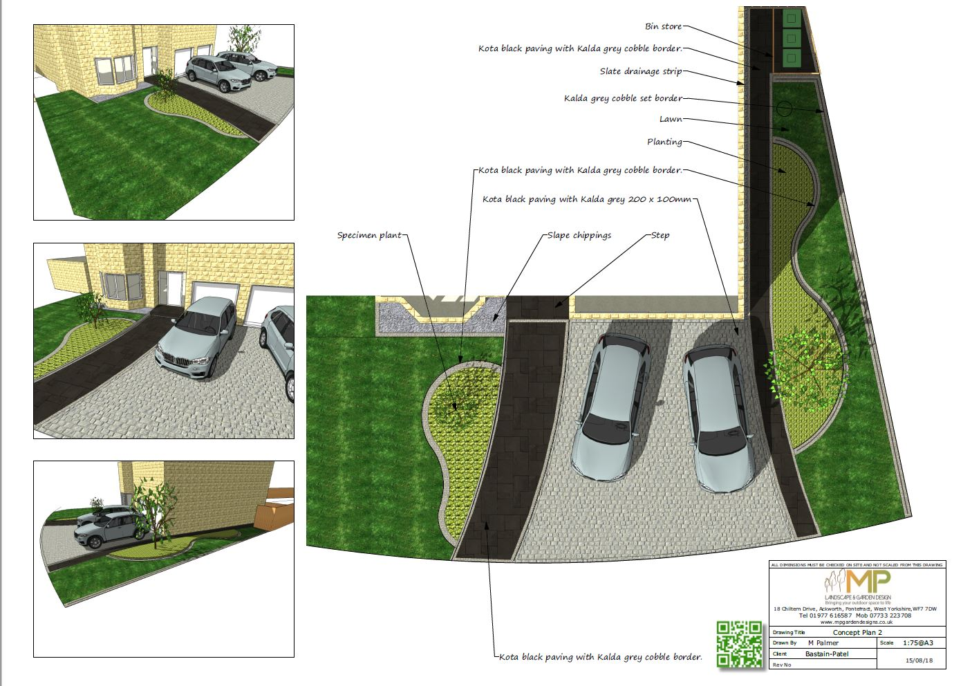 Concept plan-2 for a front garden in Ackworth, Pontefract.
