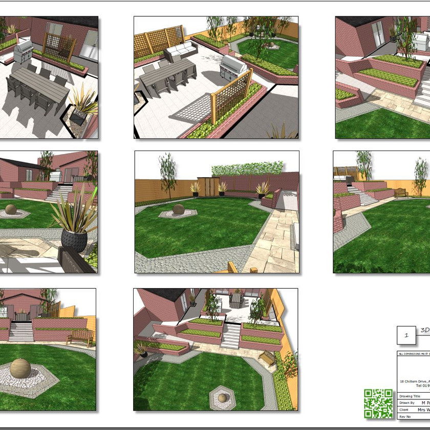 Colour 3D images Concept Plan-1 for a rear garden in Knottingley