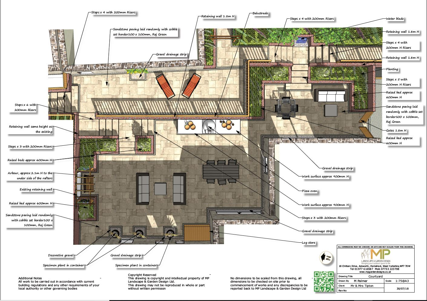 Courtyard layout plans for a property in Castleford.