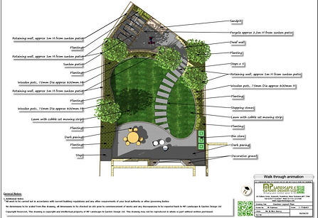 2, Garden design, colour layout plan, Wa