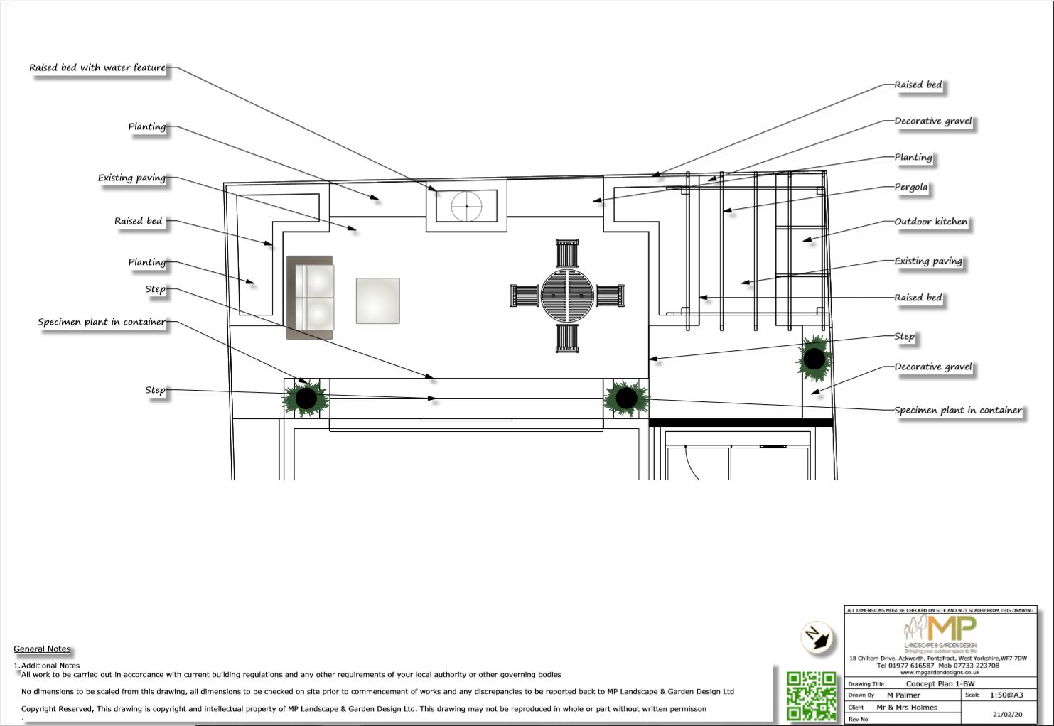 3, Concept plan-1 for a rear garden in Wakefield