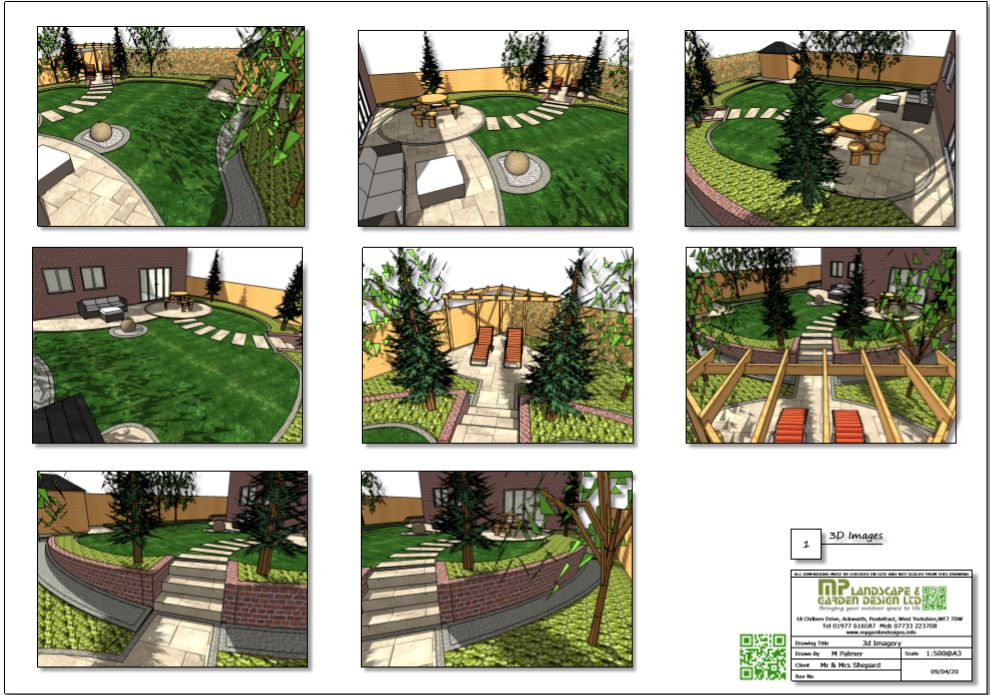 4, Concept plan,1 3D images for a rear garden in Wakefield