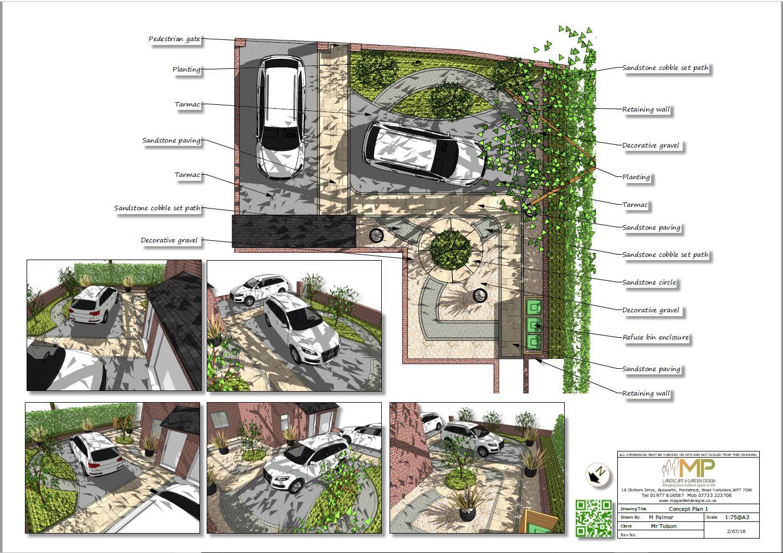 Front garden design concept plan-1 for a property in Kippax.