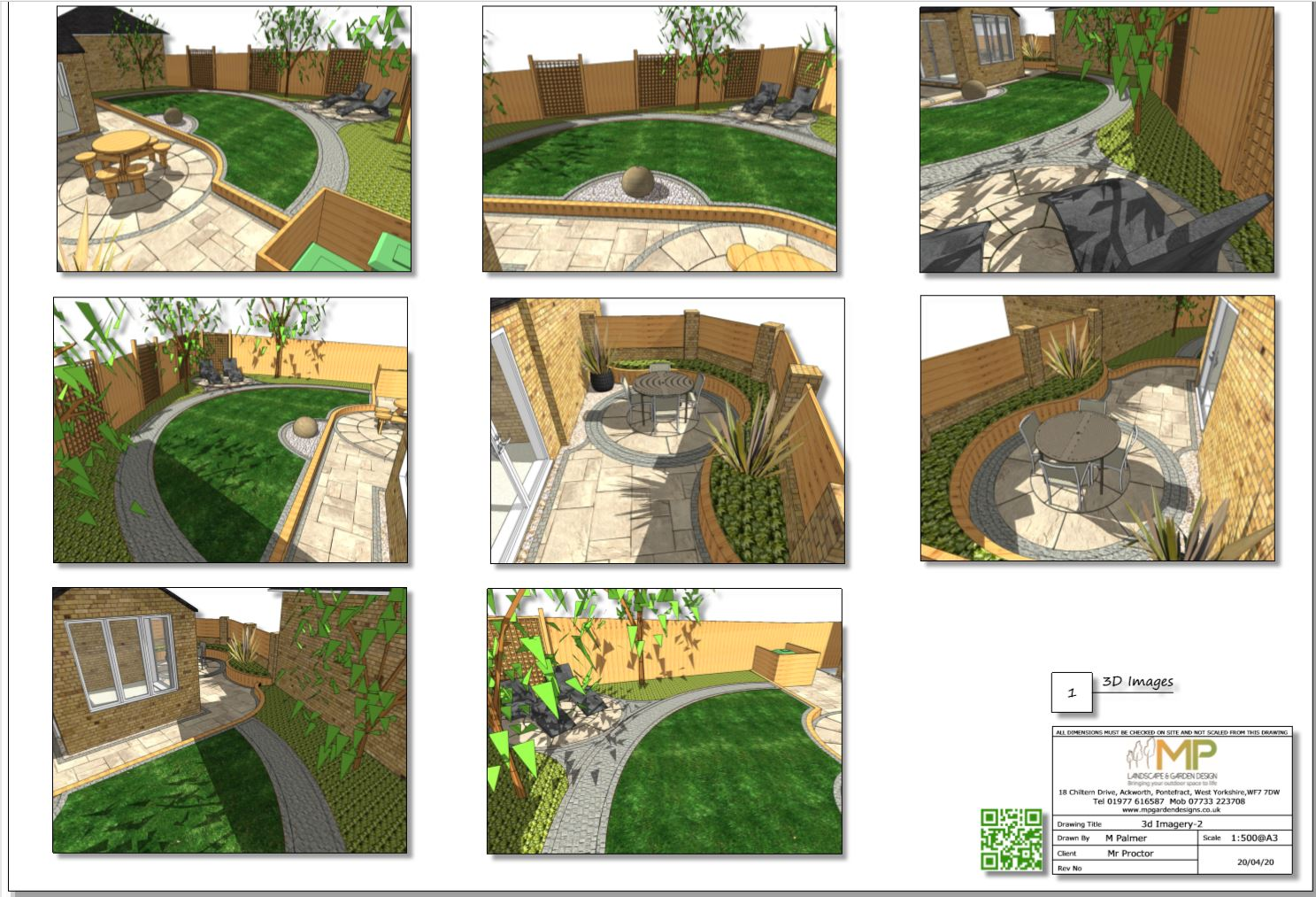 8, Concept plan-2 3D images for a rear garden in South Kirkby
