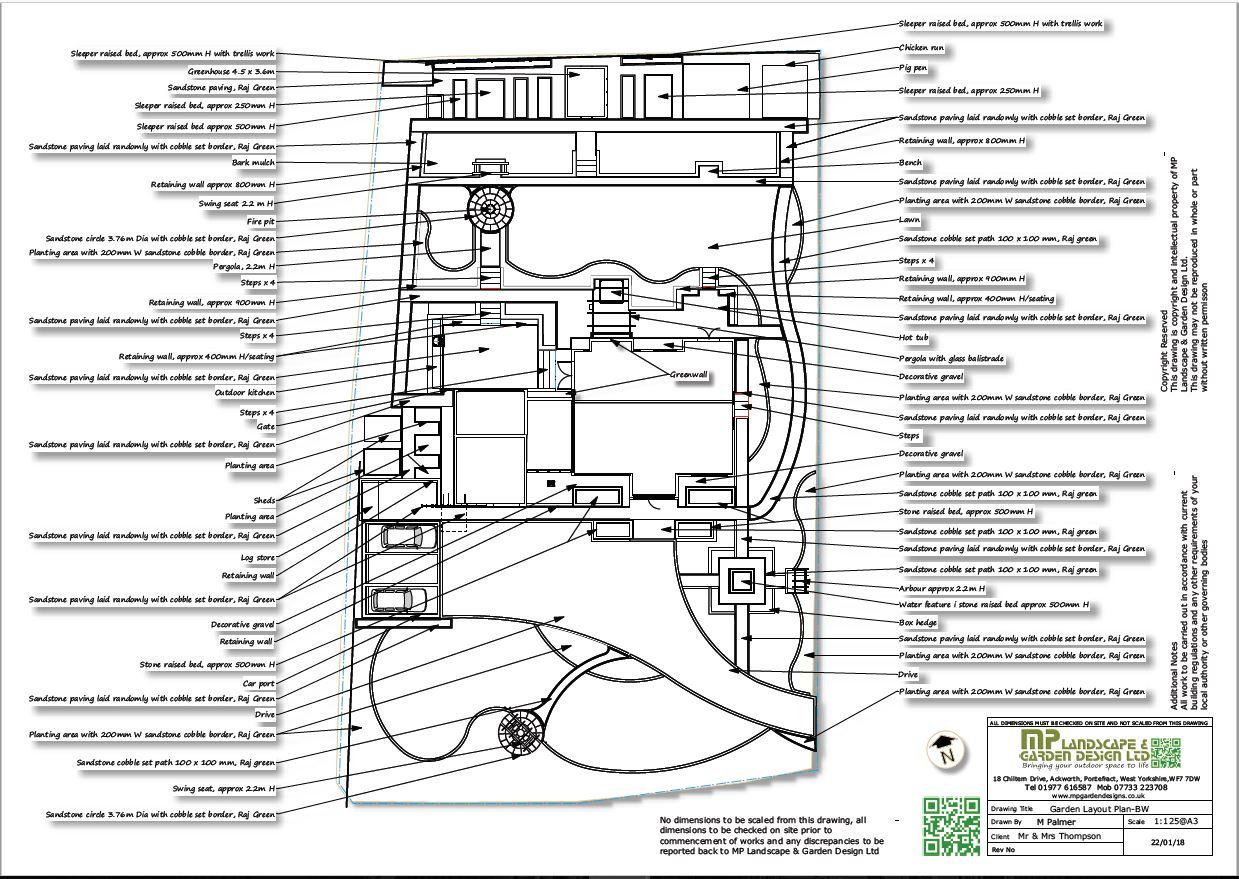 Landscape design black and white plans for a property in Wentbridge, West Yorkshire