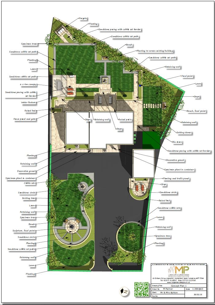 Landscape design concept plan-1 for a property in Wakefield.