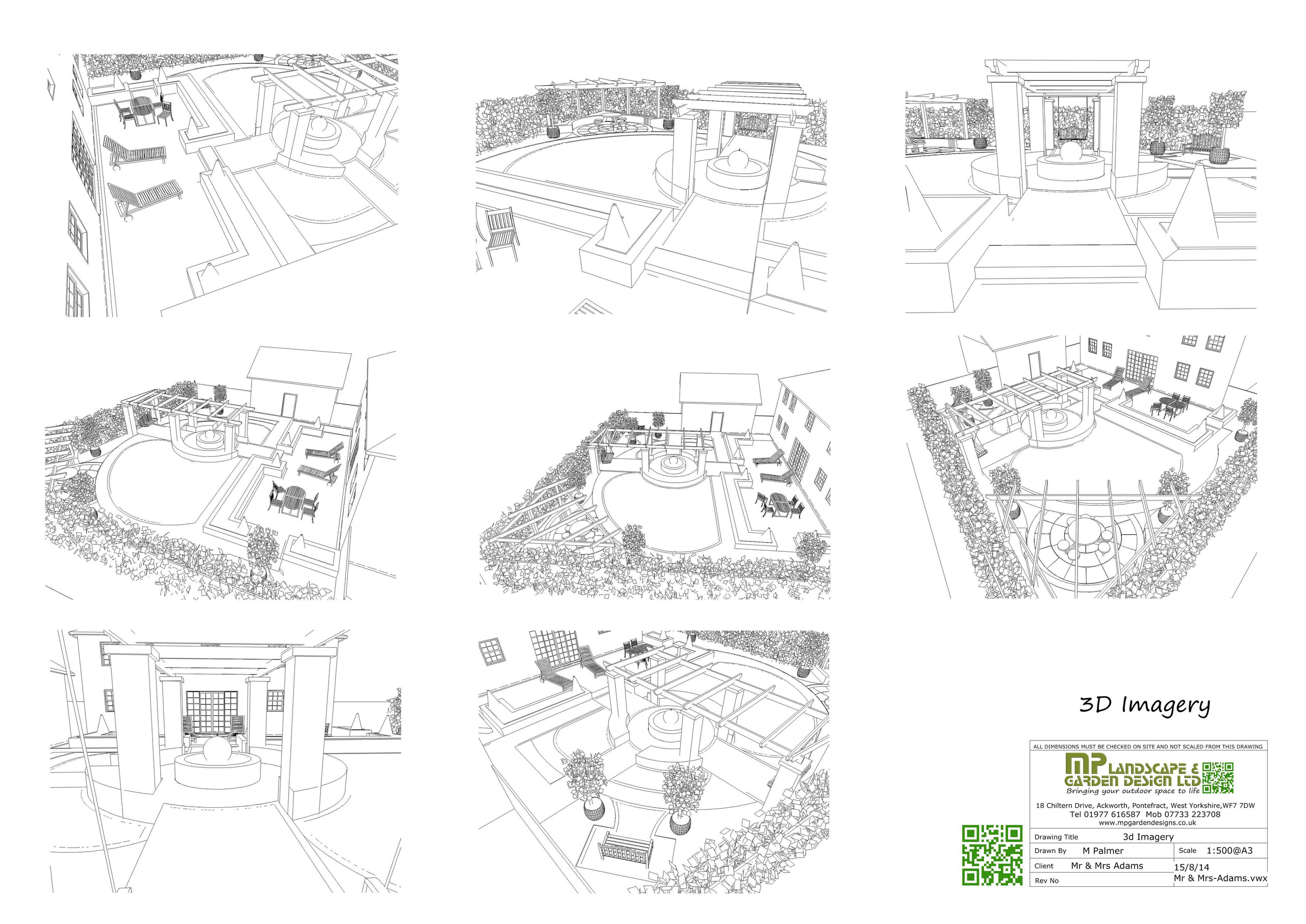 Garden Design layout 3D black and white plans for a garden in Wakefield