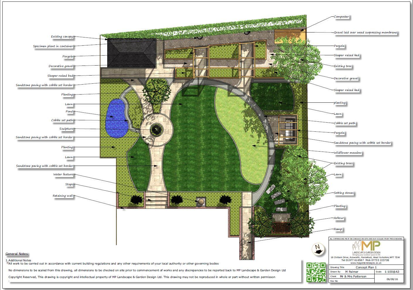 1, Colour concept plan 1 for a rear garden in Knottingley