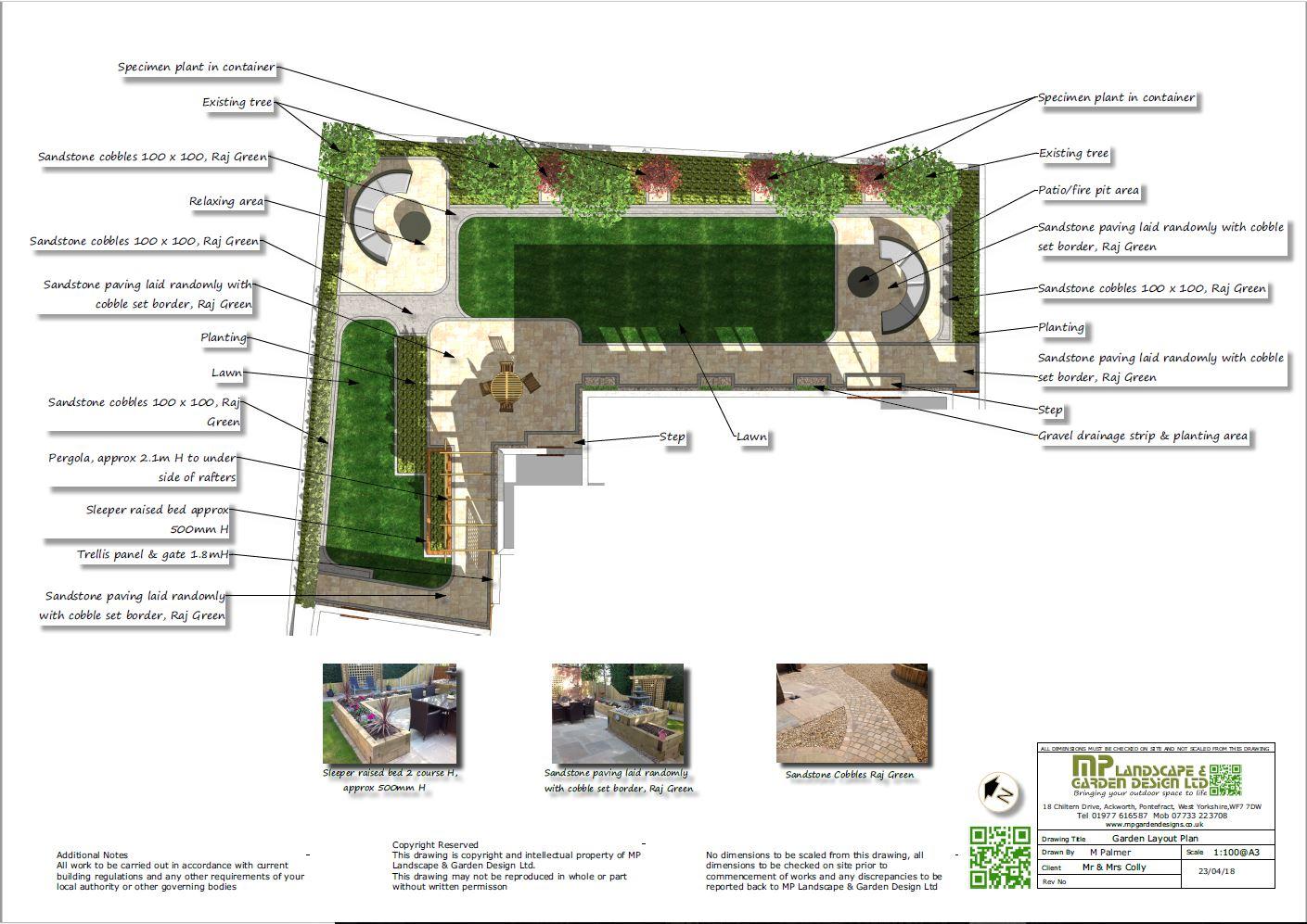 Garden layout plans for a rear garden in Wakefield, West Yorkshire.