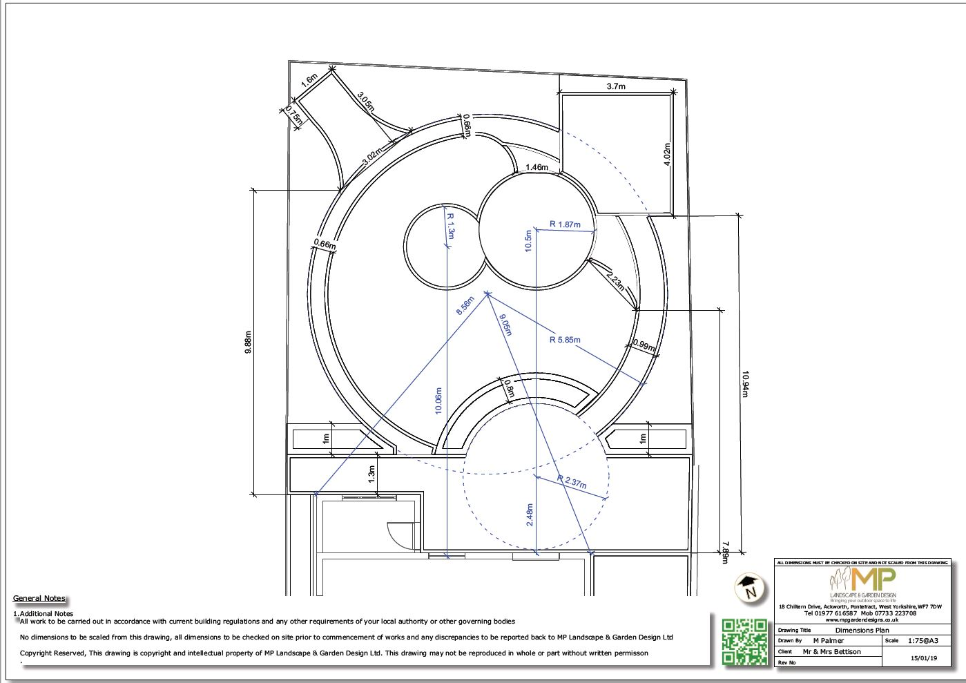 Dimensions plans for a rear garden in Wakefield.