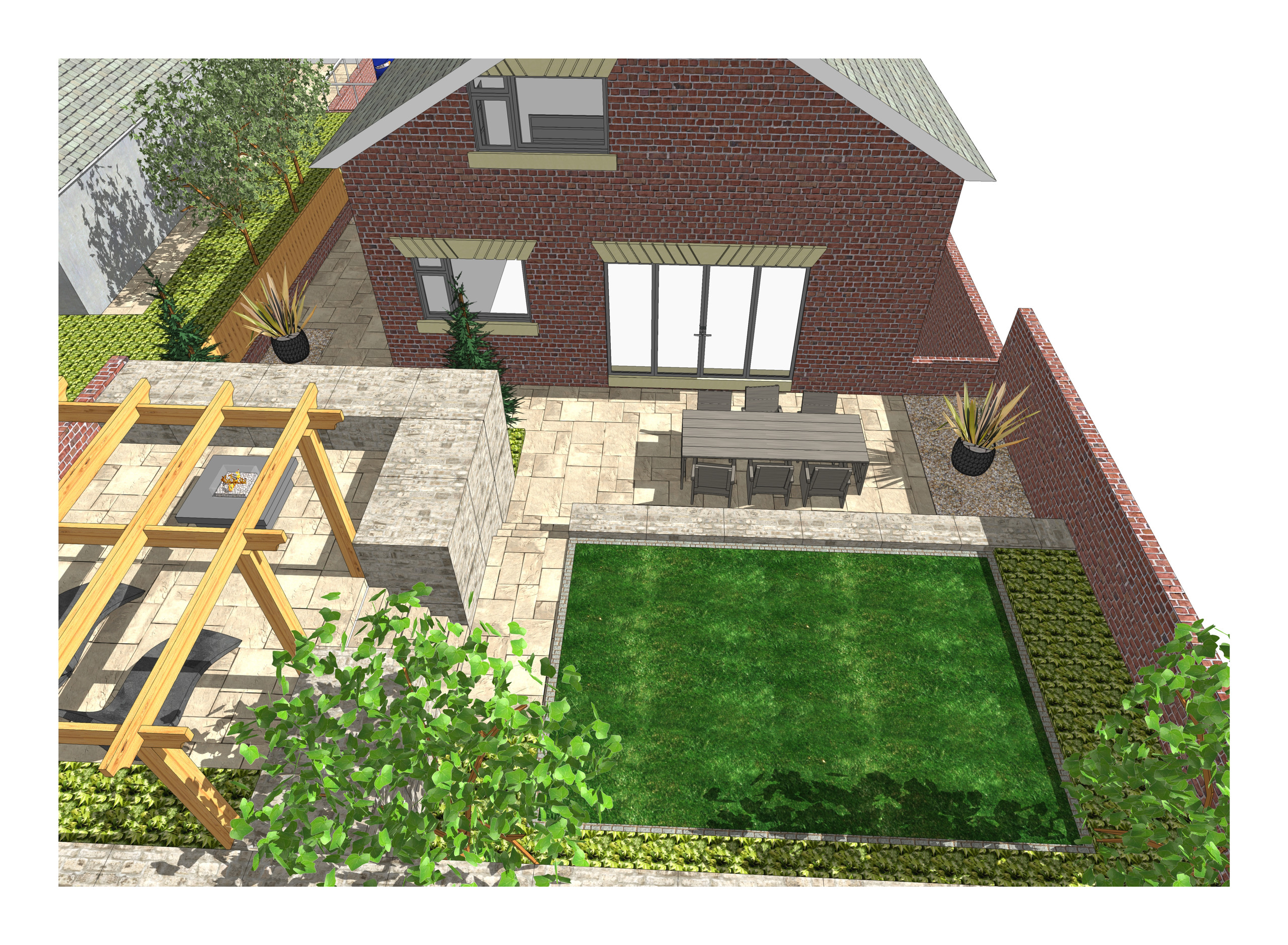 8. 3D images for a new build property in Uton West Yorkshire. Garden designer in Wakefield
